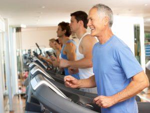 Older Man Jogging on Treadmill